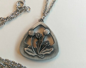 Necklace Pendant Vintage  Floral Pewter Collectible