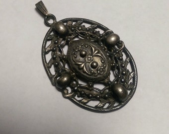 Pendant Necklace Pewter Ornate Floral  Statement Piece