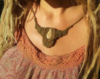 RootsPower of the Earth beautiful Hippie lightbrown Makrame Neclace with natural fossil stone