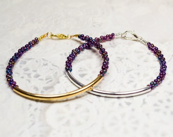 Gold tube bracelet, Beaded Bracelet, beaded bangle, tassel bracelet, Friendship bracelet, seed bead bracelet, seed beads bangle, clear bead