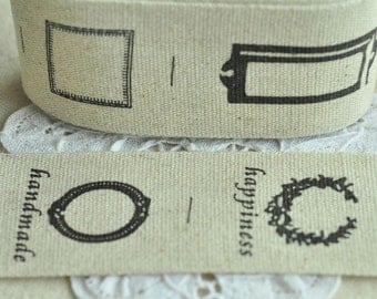 40mm(1 1/2'') x 5 Yards Thick Sewing Trim Cotton Sewing Tape Label Cotton Ribbon Fabric Label - Happiness Letter Square Circle Y206