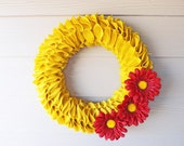 Summer Yellow Burlap Wreath, Yellow Burlap Ruffle Wreath, Summer Burlap Wreath, Summer Yellow Wreath, Burlap Wreath, Burlap Daisy Wreath