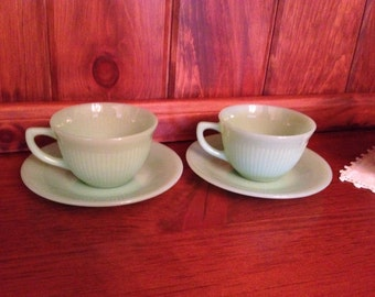 Vintage Fire King Jadeite Ray Cup and Saucer 2 Sets