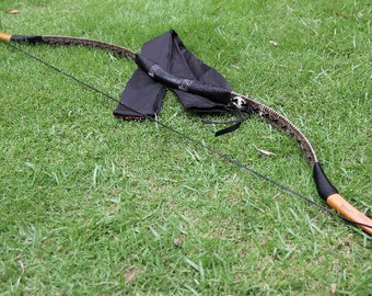 Longbowmaker Traditional Archery Hungarian Bow Brown Snakeskin Horsebow Recurve Longbow 20-80LBS XSBS