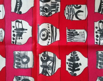 Scandinavian fabric Swedish retro design Vaser Lisa Larson pottery red