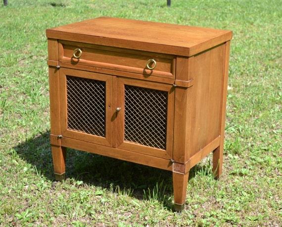 Vintage Wood Chest Cabinet Sligh Furniture On Casters Brass