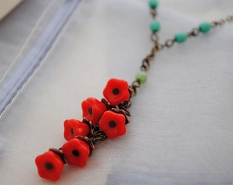 Poppy flower necklace, red, brass, vintage, green, turquoise, cascade, charm, garden