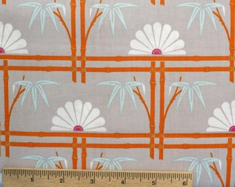 SALE Tanya Whelan Fabric Dolce Bamboo Garden TW26 Grey Orange White floral fans lines sewing/quilting fabric 100% cotton fabric by the yard
