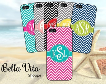 Monogrammed iPhone 5 Case, Thin Chevron Pattern Cute -iPhone 5S Case