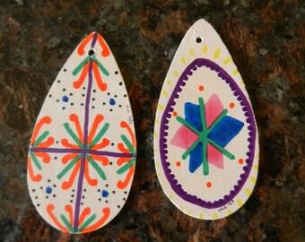 Set of 2 Handpainted Pennsylvania Dutch Pysanky-style Wooden Teardrop Easter Ornaments