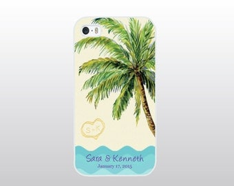 iPhone 4/4S, 5/5S, 5C or 6 Case - Tropical, Beach or Destination Wedding - Bride To Be iPhone - Anniversary Gift - Personalized Wedding Gift