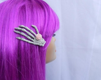 Skeleton Hand Hair Clip with Pastel Pink Rose Pin Up Pastel Goth Rockabilly
