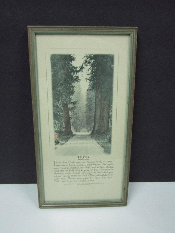 Vintage Tree Print Framed Poem Poetry Joyce Kilmer By