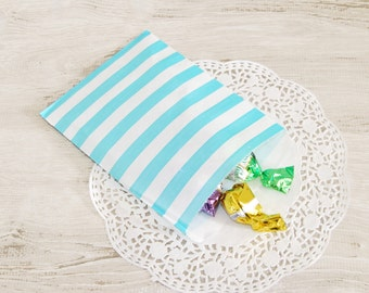 12 gift bags aquamarine,packaging bags,stripes paper bag, cookies bag,wrapping