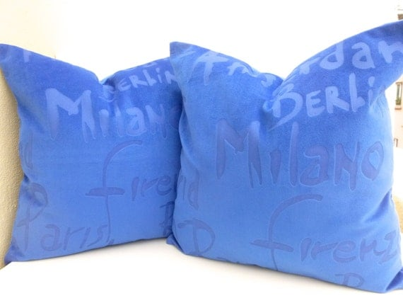 Set of 2 royal blue throw pillows with european by for Royal blue couch pillows