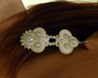 White - soutache earrings