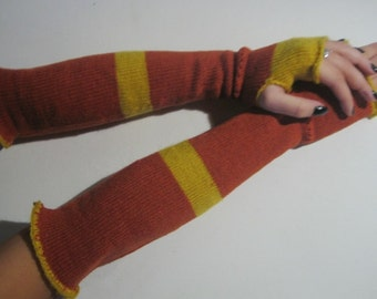 Yellow and Orange Striped Knitted Long Fingerless Gloves, Mittens, woman accessories ,Wristwarmers,winter accessory