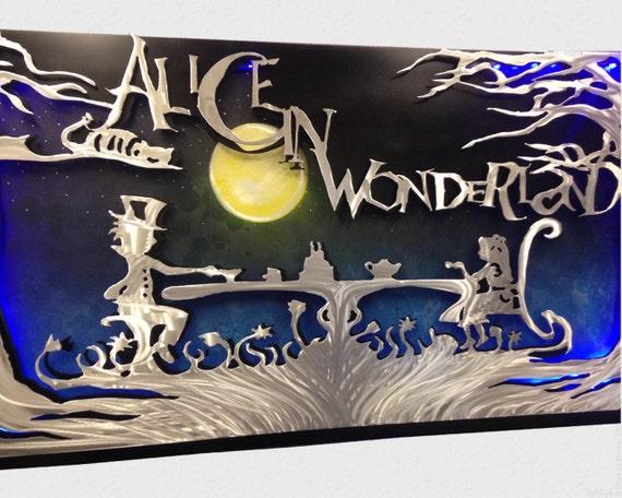 Alice In Wonderland 3d Led Metal Wall Art Disney Art