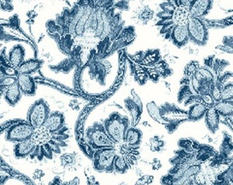 One Yard Normandy Court - Small Floral in White and Blue - Cotton Quilt Fabric - designed by Michele D'Amore for Benartex Fabrics (W1474)