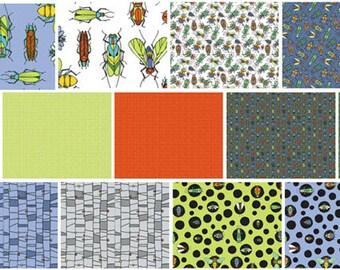 Bugs Fat Quarter Bundle - 13 Different Prints - Cotton Quilt Fabric - by Jone Hallmark for Blend Fabrics (W1843)