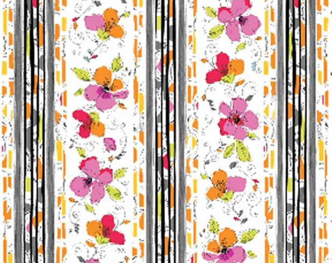 SUPER CLEARANCE!! One Yard Bold and Beautiful Bright - Border Stripe in Bright Multi - Cotton Quilt Fabric - by Benartex Fabrics (W686)