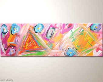 "Abstract painting, canvas paintings: ""Color vitiality"" - 47"" artists art by MartinK, colorful original piece"
