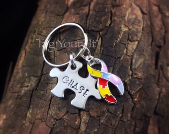 Autism awareness keychain - stainless steel