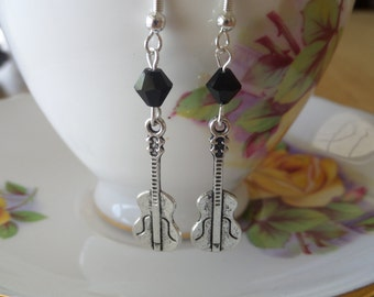 Silver Guitar Earrings With 6mm Black Crystal.