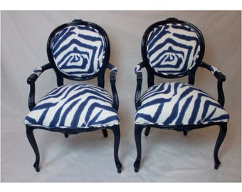 SOLD-CAN REPLICATE. Pair of French Chairs in Navy/Royal Blue Zebra with Navy Wood