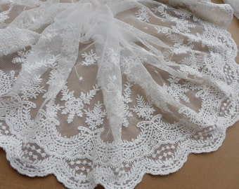 """8.66"""" Wide White Cotton Lace Trim Embroidered Tulle Lace Bridal Wedding Fabric Lace By The Yard"""