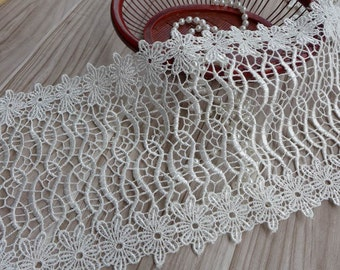 Off White Crochet Lace Trim Venice Lace Trim For Bridal, Cuffs, Wedding Gowns, Costume design