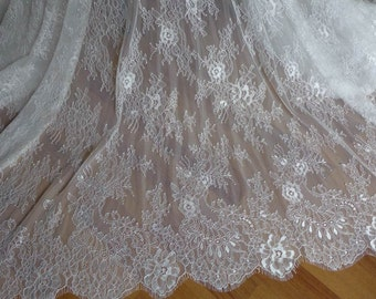 SOFT White French Chantilly Lace Fabric Elegant Floral Wedding Fabric Bridal Veils Lace Fabric By The Yard