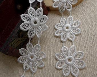 White Lace, Venice Flower Trim Applique, Bridal Flower Lace Applique, Wedding Sewing Supply