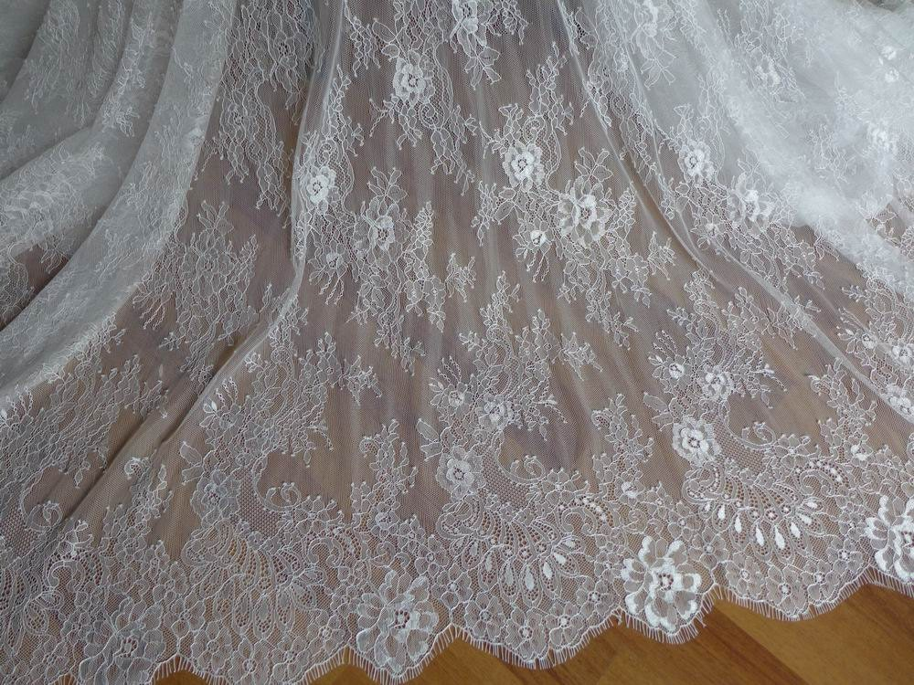 Soft White French Chantilly Lace Fabric Elegant Floral Wedding