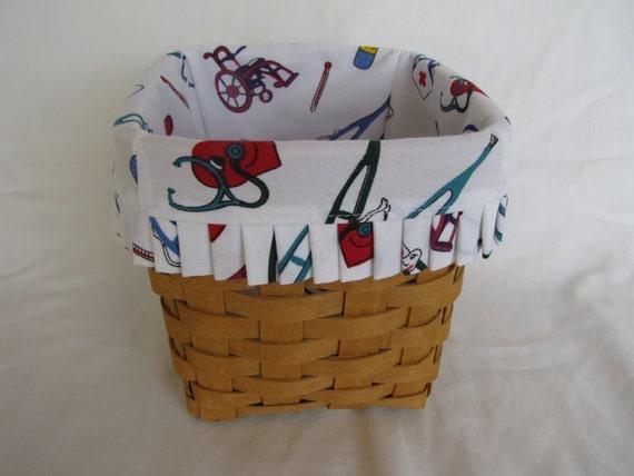 Handmade Longaberger Basket Liners : Items similar to custom doctor nurse basket liner for