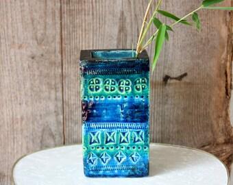 Vase ceramic /  Bitossi / vintage / Rimini blue / Aldo Londi / 60s / Italy / rectangular / home accessory