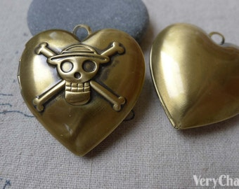 4 pcs of Antique Bronze Brass Pirate Heart Photo Locket Charms 34mm A7008