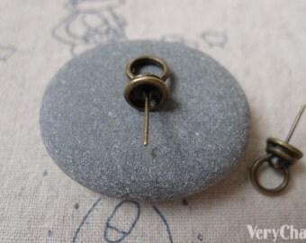 10 pcs of Antique Bronze Bail Pendant Bead Cap With Pin 7x11mm A7042