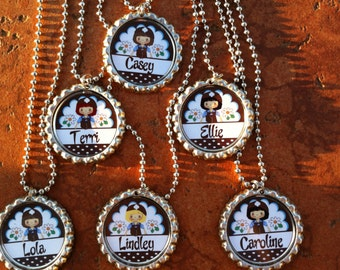 Set of 6 Personalized Brownies Girl Scouts Inspired Party Favors Bottle Cap Necklaces OR Zipper Pulls - YOU CHOOSE