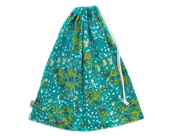 LAST ONE! Vibrant Turquoise Wet Bag. Perfect for the Beach or Pool. Waterproof Drawstring Bag. Swim Bag. Beach Bag. Floral Bag. Kids Bag.