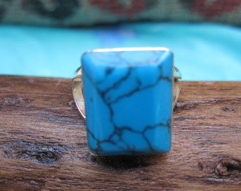 Turquoise and Sterling  Ring Size 7