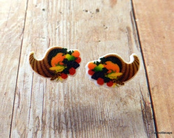 Cute Thanksgiving/Fall Cornucopia Post Earrings