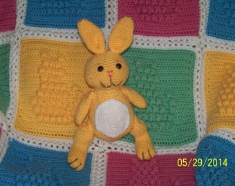 Stuffed Bunny-crocheted in yellow and white