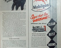 Vintage print ad from 1940's for Mobilgas