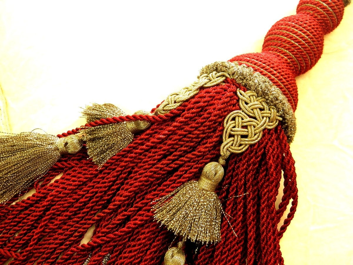 30 Discount Red And Gold Curtain Tassel Tieback Drapery