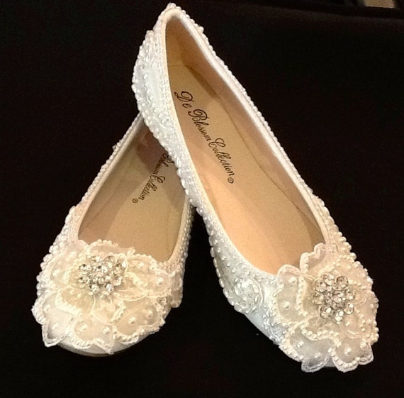 Wedding Dresses With Flats : Wedding shoes bridal flats beaded rhinestones hand embellished