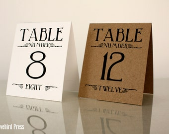 Printable Wedding Table Numbers 1-10 - Table Tents - Rustic - PDF - DIY & Printable Wedding Table Numbers Tent Fold Table Numbers