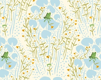 Far Far Away by Heather Ross, Frog Prince in Blue- 1/2 Yard