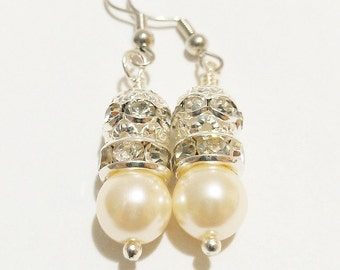 Pearl and Rhinestone Earrings /  Rhinestone Earrings / Bridal Earrings / Wedding Jewelry / Pearl Earrings / Ivory Wedding / White Wedding