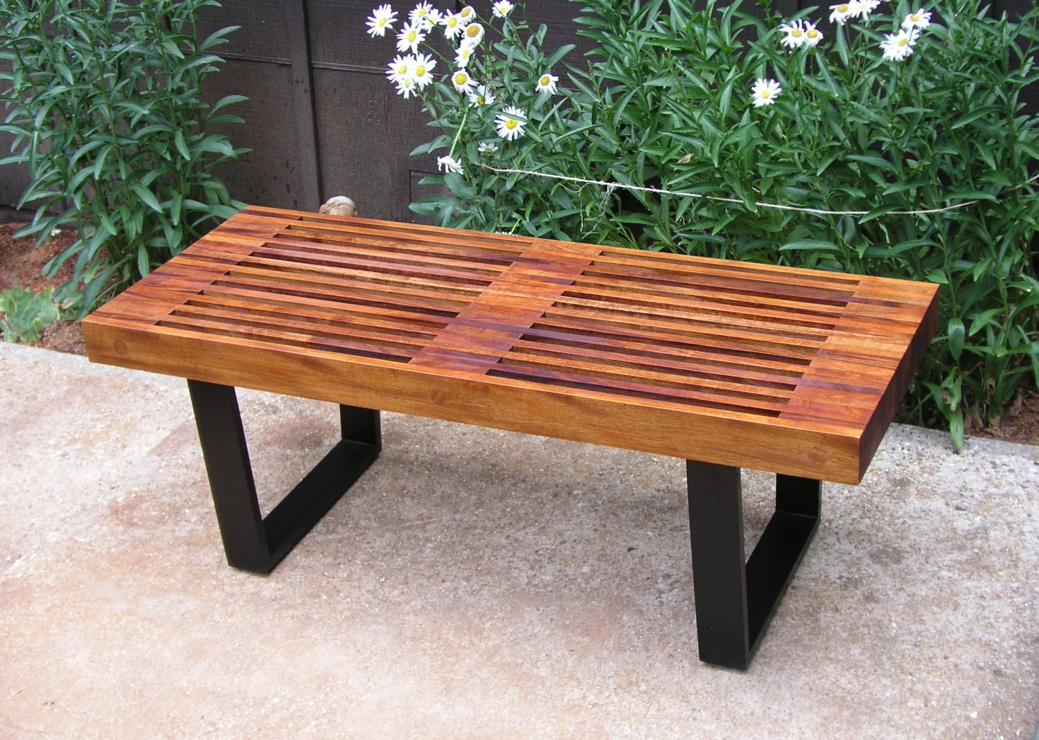 Mid century modern mahogany george nelson style garden bench zoom geotapseo Gallery